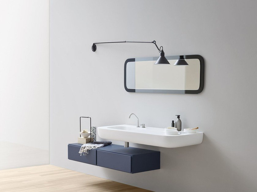 Corian® washbasin with integrated countertop ESPERANTO | Corian® washbasin by Rexa Design