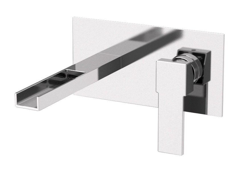 Wall-mounted washbasin mixer with plate QUBIKA CASCATA | Wall-mounted washbasin mixer by Remer Rubinetterie