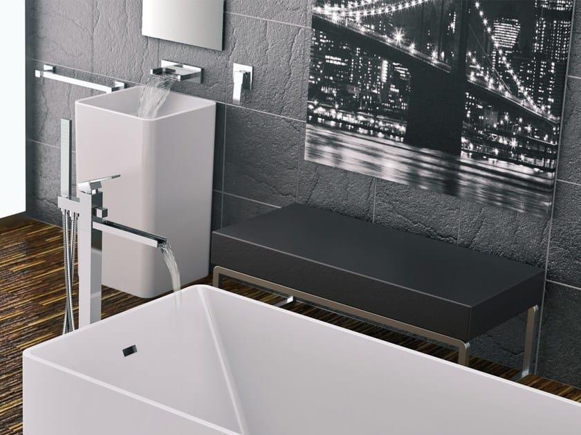 Floor standing bathtub mixer QUBIKA CASCATA | Floor standing bathtub mixer by Remer Rubinetterie