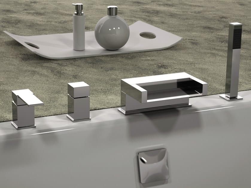 4 hole bathtub set with hand shower QUBIKA CASCATA   Bathtub set by Remer Rubinetterie