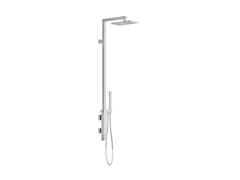 Wall-mounted thermostatic chromed brass shower column with overhead shower QUBIKA THERMO | Shower panel by Remer Rubinetterie