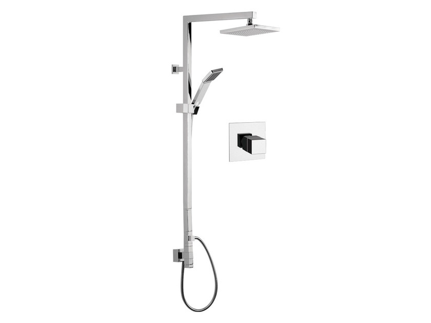 Thermostatic chromed brass shower column with hand shower with overhead shower QUBIKA THERMO | Shower panel by Remer Rubinetterie