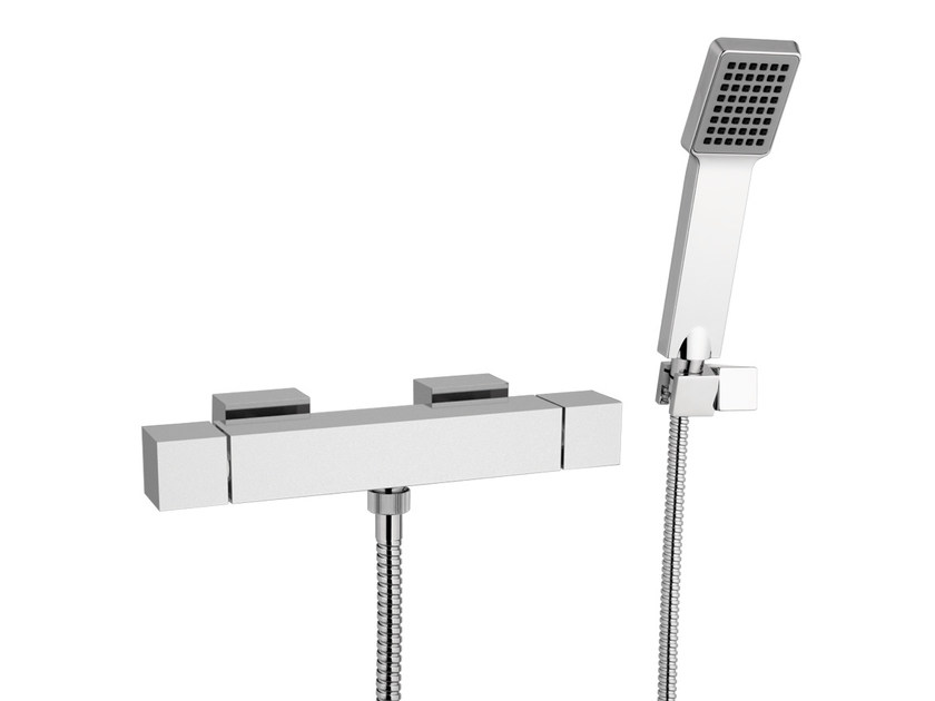 Thermostatic shower mixer with hand shower QUBIKA THERMO | Thermostatic shower mixer with hand shower by Remer Rubinetterie