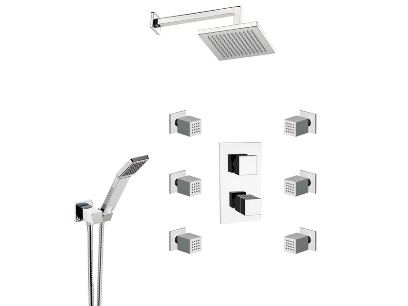 Thermostatic shower mixer with diverter with hand shower with overhead shower QUBIKA THERMO | Shower tap by Remer Rubinetterie