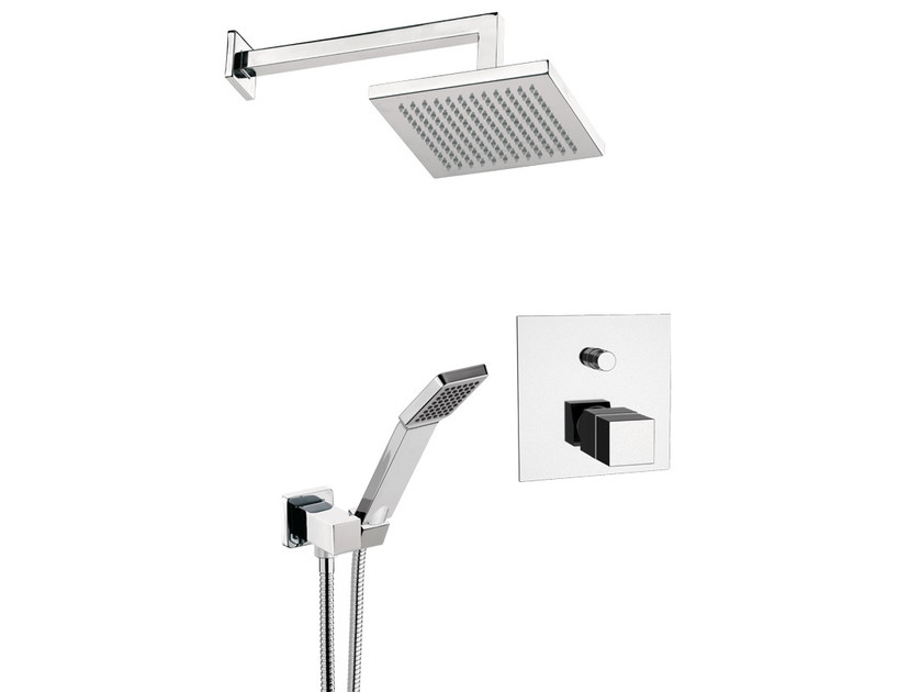 Thermostatic shower mixer with hand shower with overhead shower QUBIKA THERMO by Remer Rubinetterie