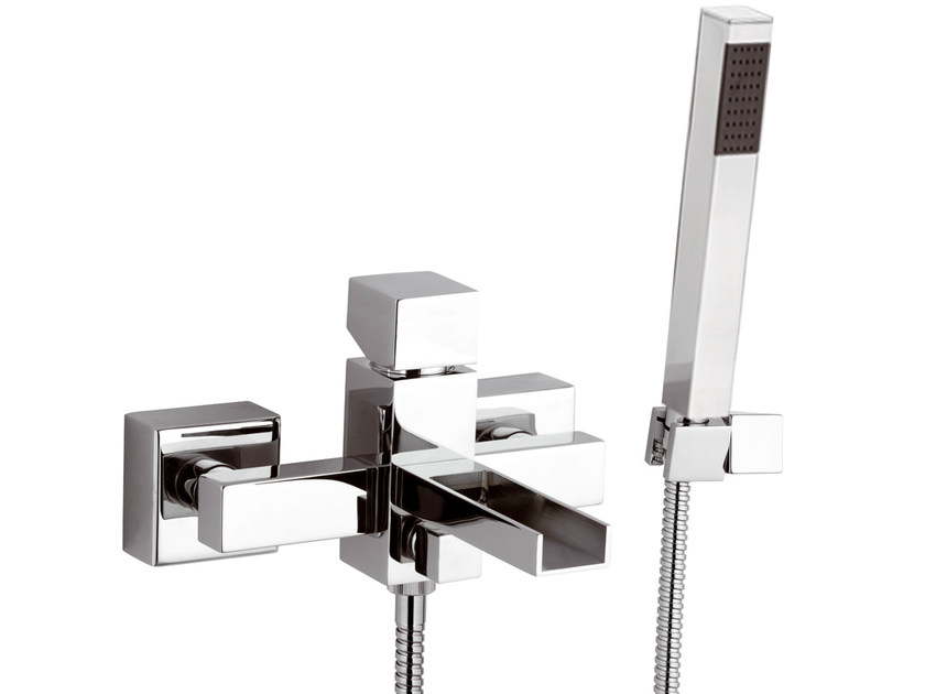 Wall-mounted bathtub mixer with hand shower RIVER | Bathtub mixer with hand shower by Rubinetterie Mariani