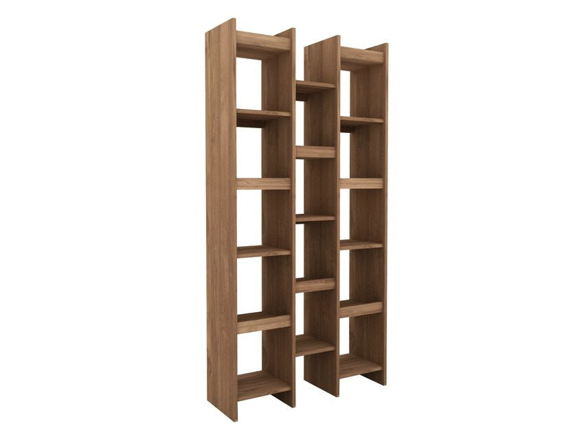 Open double-sided teak bookcase TEAK MOZAIC | Bookcase by Ethnicraft