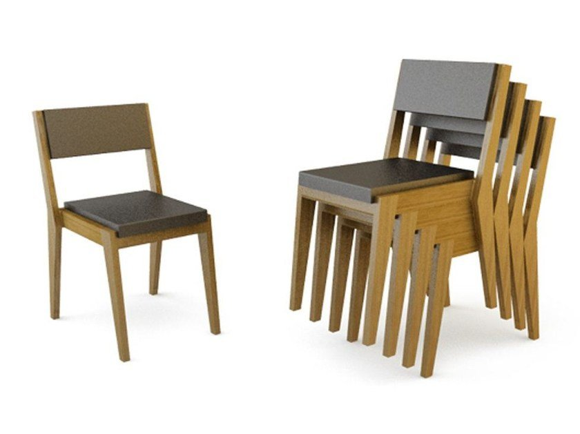 Stackable wooden chair ROOM 26 CHAIR 01 STACKABLE by Quinze & Milan
