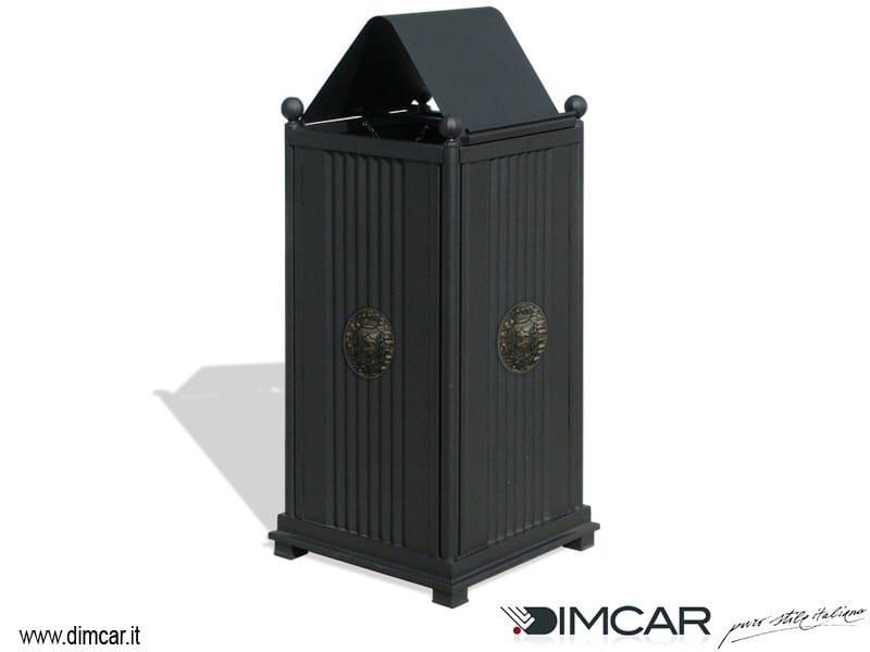 Outdoor metal litter bin with lid Cestone Sassari con coperchio by DIMCAR