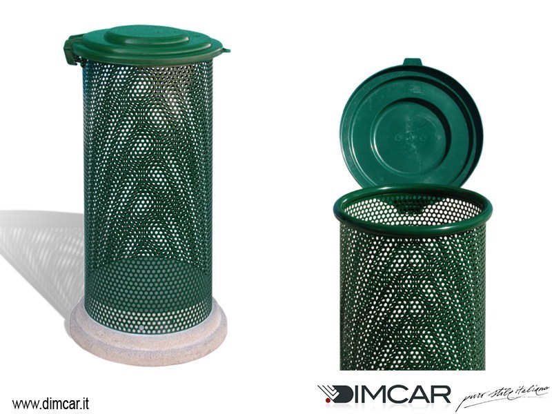 Outdoor metal litter bin with lid Cestone Eden con coperchio by DIMCAR