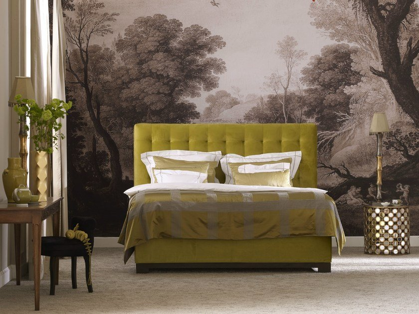 Double bed with removable cover with tufted headboard RAPHAEL by SCHRAMM