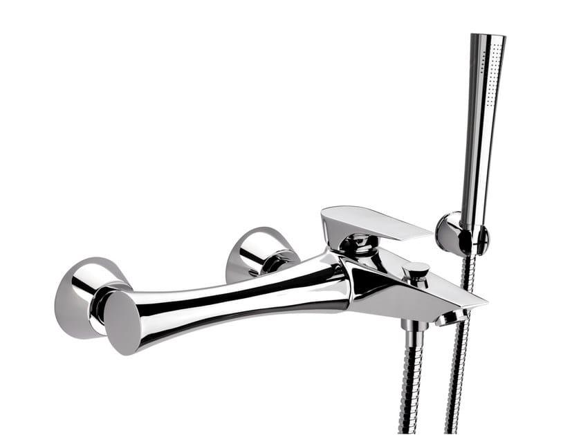 Wall-mounted single handle bathtub mixer with hand shower DIVA   Bathtub mixer with hand shower by Daniel Rubinetterie