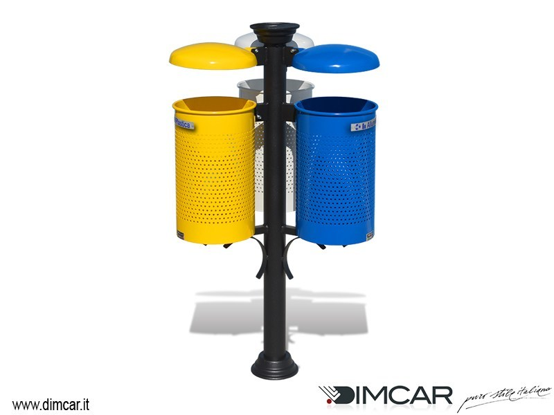 Litter bin with lid with ashtray for waste sorting Cestino Trio con posacenere by DIMCAR