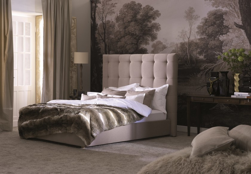 Double bed with removable cover with tufted headboard Gala 28-M + QUADRO PLUS by SCHRAMM