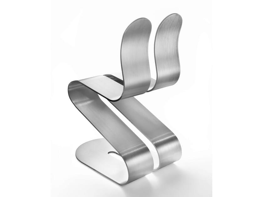 Ergonomic stackable aluminium chair FLUID RIBBON   Aluminium chair by Lamberti Design