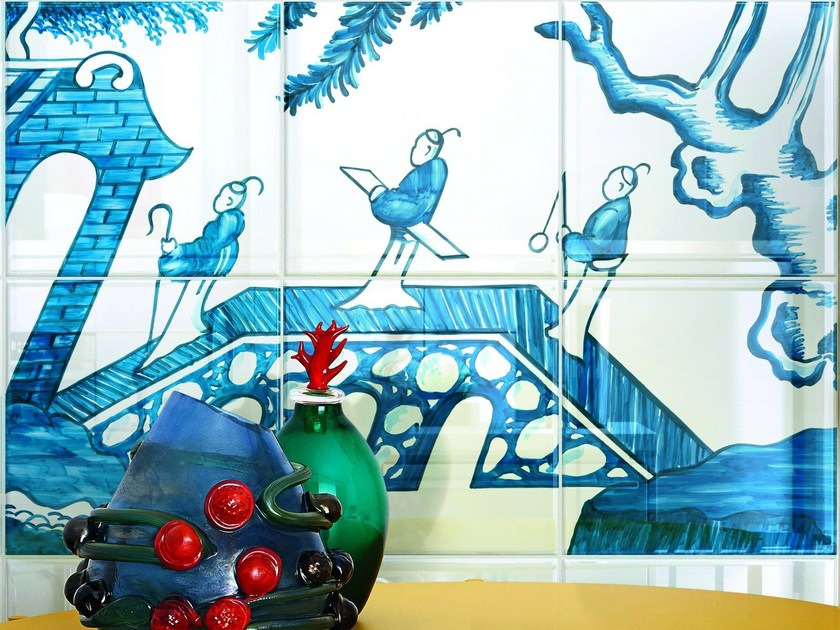 Double-fired ceramic wall tiles BLUE WILLOW by Ceramica Bardelli