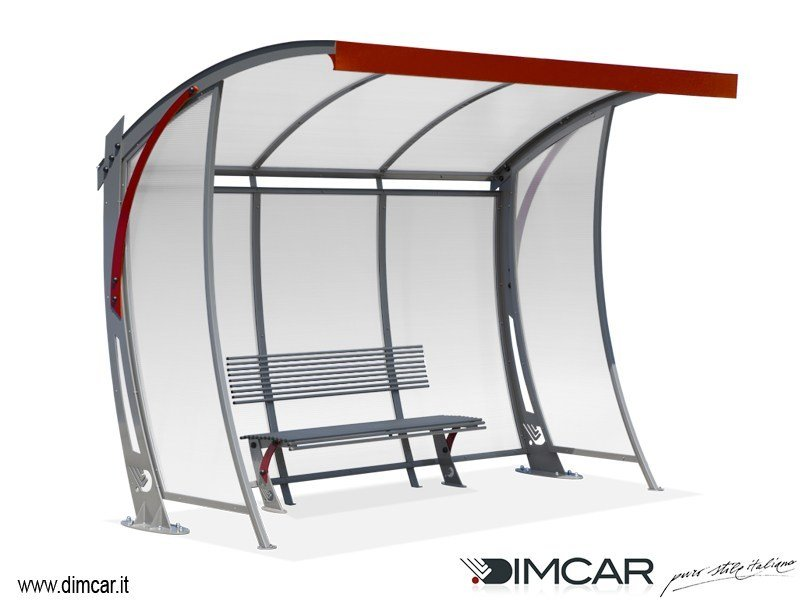 Steel porch for bus stop Pensilina Anthea con pareti laterali by DIMCAR