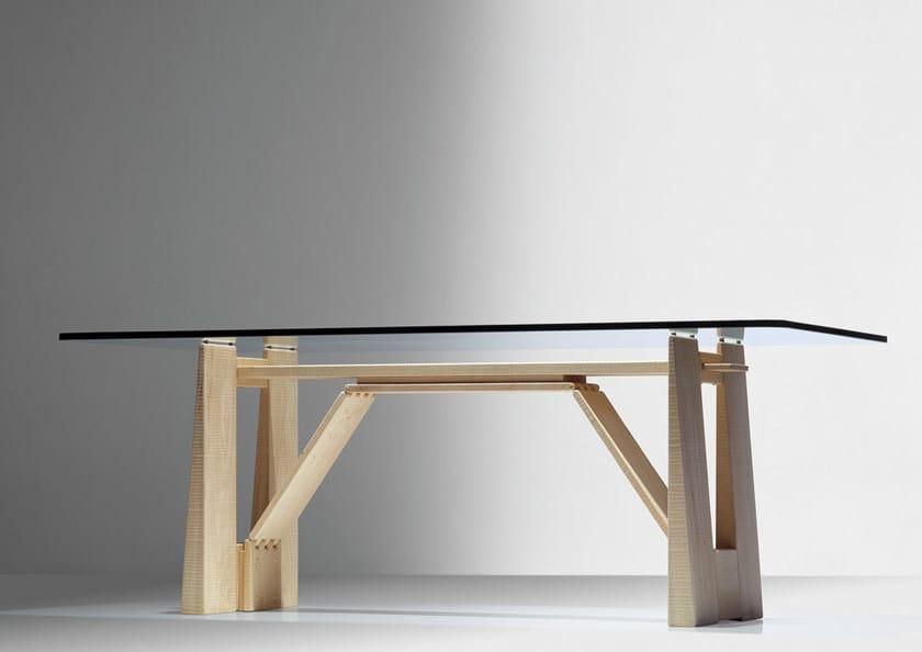 Rectangular wood and glass table PERUGINO by HABITO