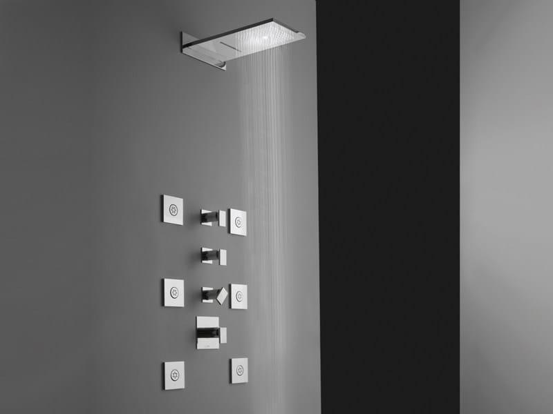 Soffione doccia a muro a pioggia cromato in acciaio aqua sense