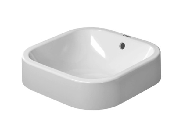 Countertop square grinded ceramic washbasin HAPPY D.2 | Square washbasin by Duravit