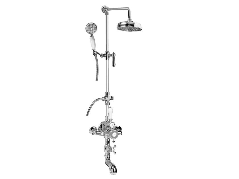 Classic style wall-mounted shower panel with overhead shower NANTUCKET | Wall-mounted shower panel by Graff Europe West