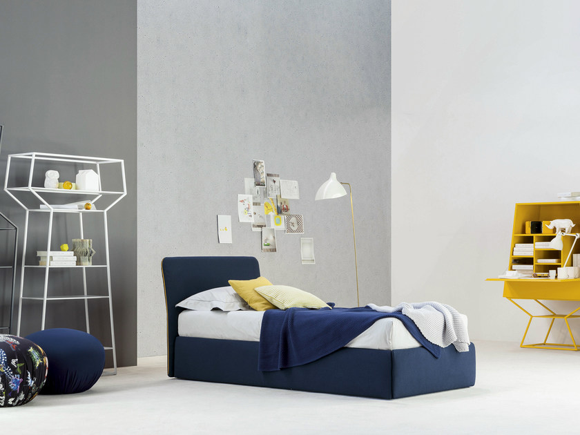 Fabric single bed with upholstered headboard TRUE | Single bed by Bonaldo
