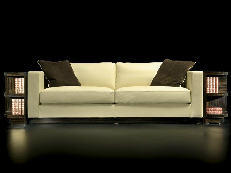 Curved tanned leather sofa with integrated magazine rack RONDO | Sofa by HUGUES CHEVALIER