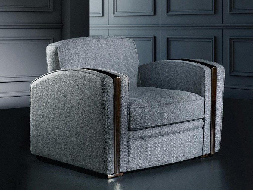 Sectional upholstered armchair with armrests FLANELLE | Armchair by HUGUES CHEVALIER