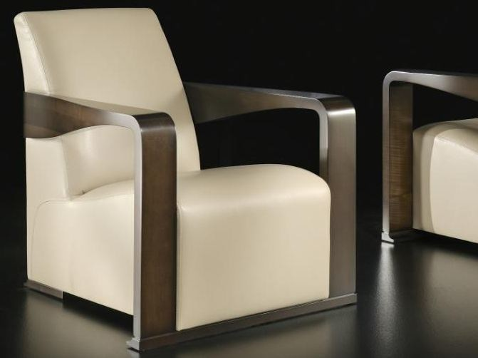 Upholstered leather armchair with armrests YING | Armchair by HUGUES CHEVALIER