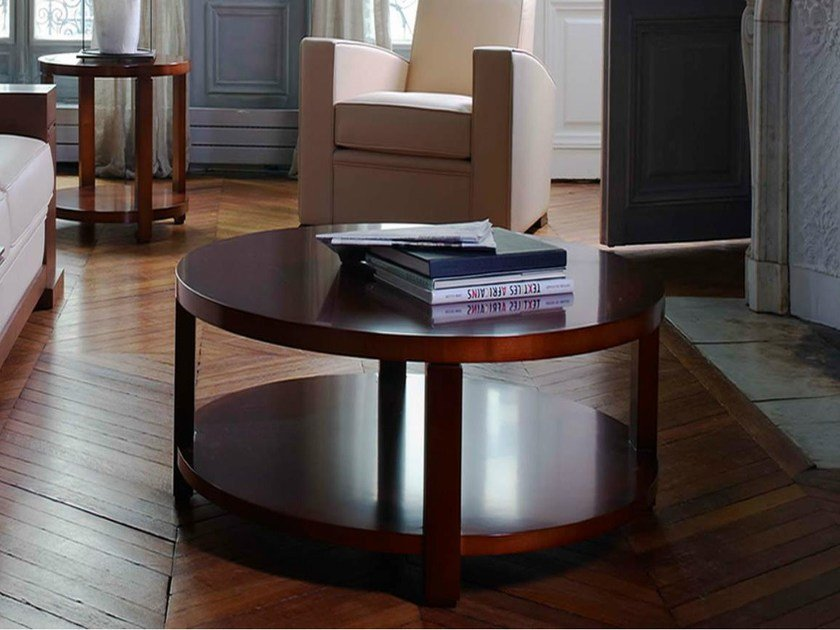 Round wooden coffee table with integrated magazine rack AGORA | Coffee table by HUGUES CHEVALIER