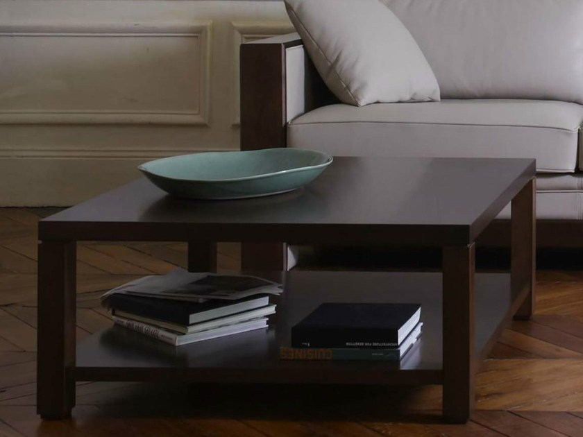 Rectangular wooden coffee table with integrated magazine rack for living room EDRA | Coffee table by HUGUES CHEVALIER