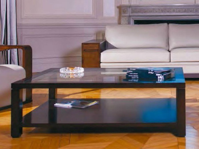 Rectangular glass coffee table with integrated magazine rack EDRA | Glass coffee table by HUGUES CHEVALIER