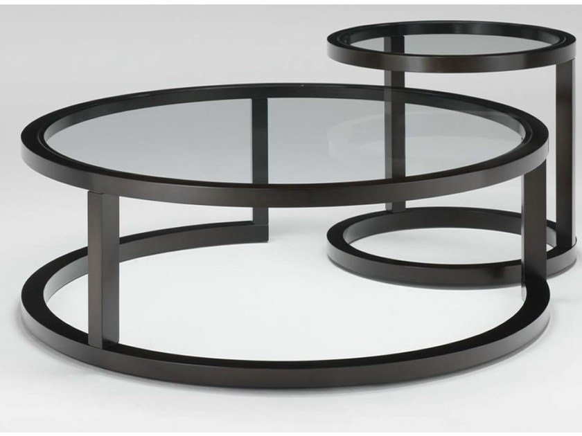 Modular round wooden coffee table OMEGA | Coffee table by HUGUES CHEVALIER