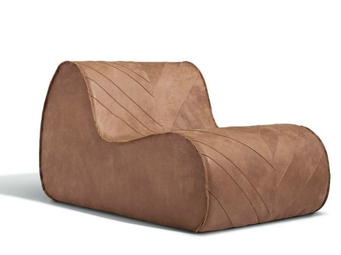 Upholstered leather armchair VIRGOLA   Leather armchair by MissoniHome