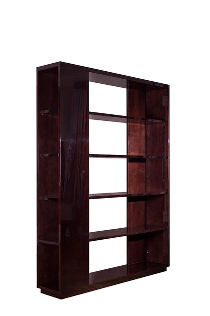 Open double-sided wooden bookcase MB1 by HUGUES CHEVALIER