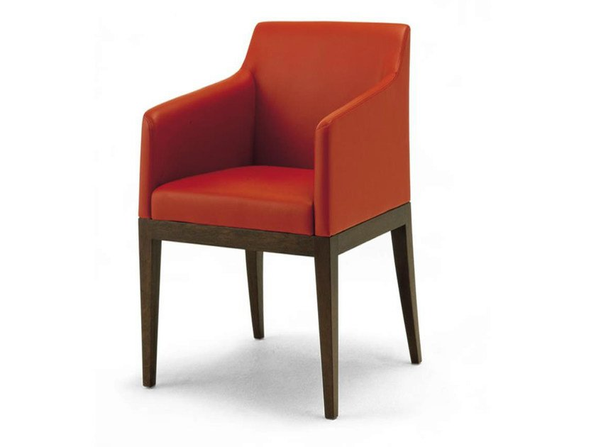 Upholstered leather easy chair with armrests DELANO | Easy chair by HUGUES CHEVALIER
