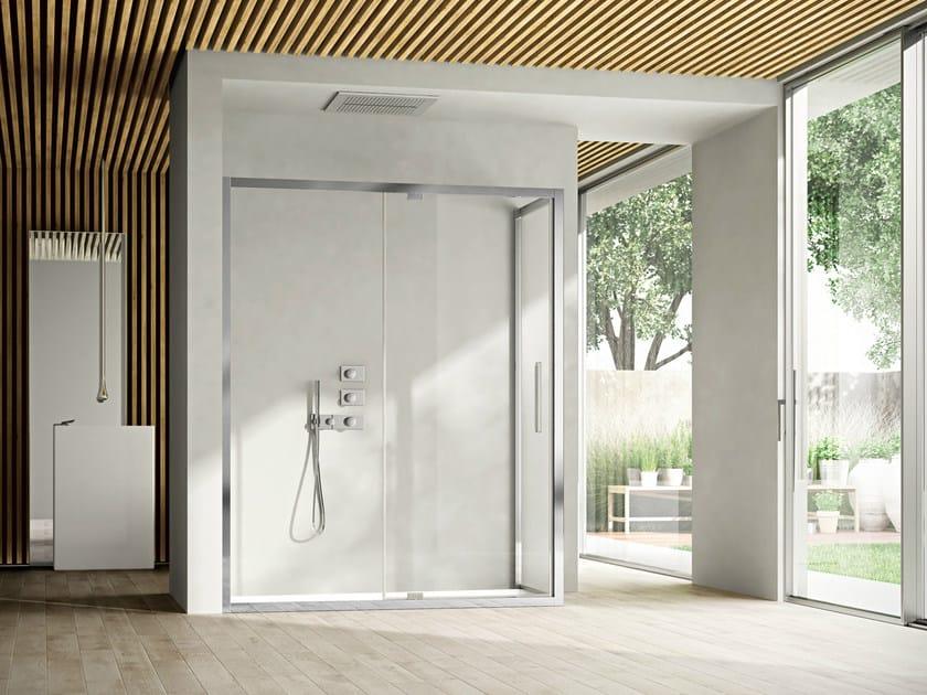 Corner shower cabin with pivot door LIKE 09 by Idea