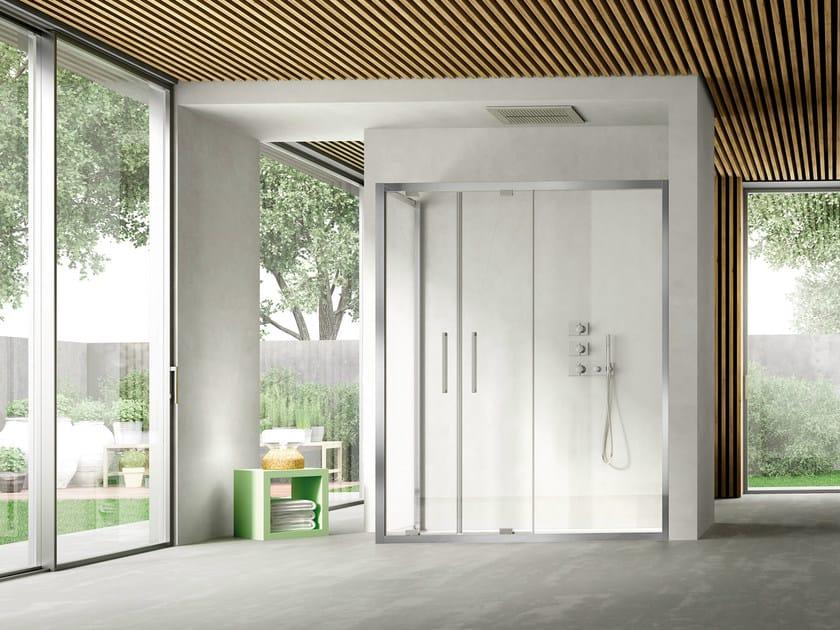 Corner shower cabin with pivot door LIKE 10 by DISENIA