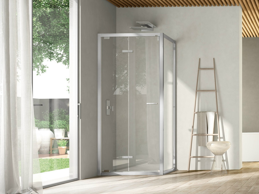 Corner shower cabin with folding door LIKE 12 by DISENIA