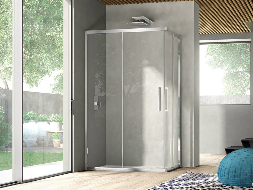 Corner shower cabin with sliding door LIKE 13 by DISENIA