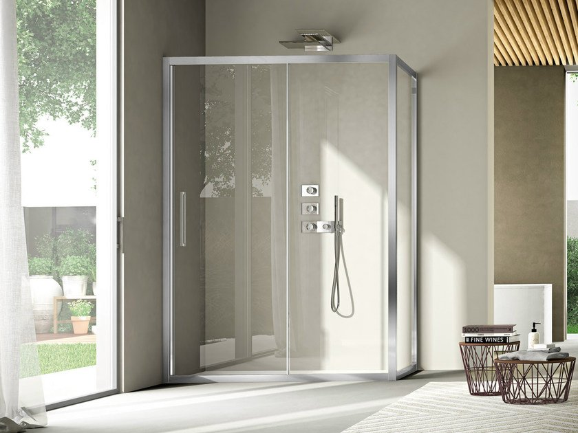 Corner shower cabin with sliding door LIKE 11 by Idea