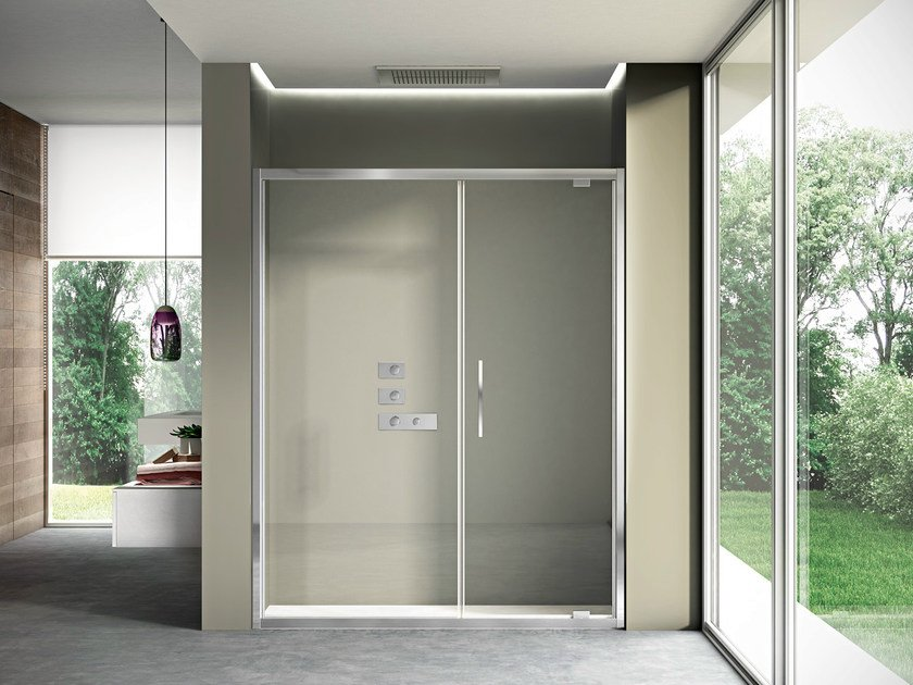 Niche shower cabin with pivot door LIKE 03 by DISENIA