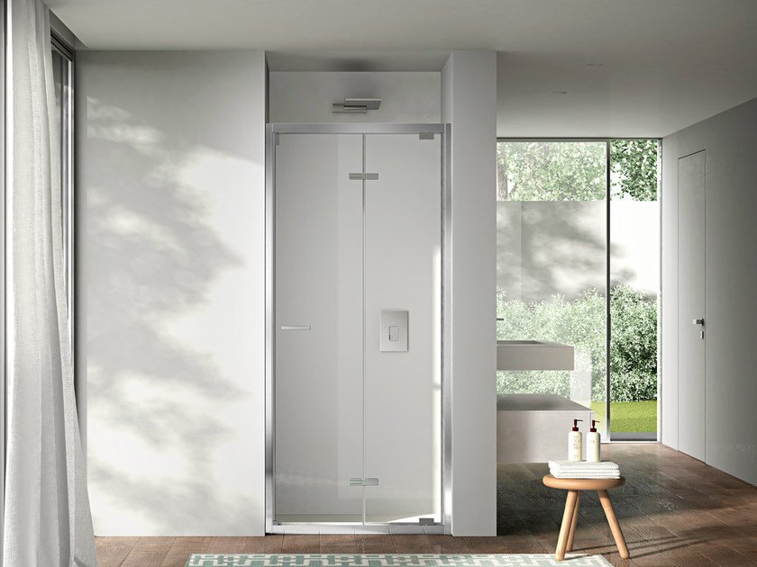 Niche shower cabin with folding door LIKE 05 by DISENIA