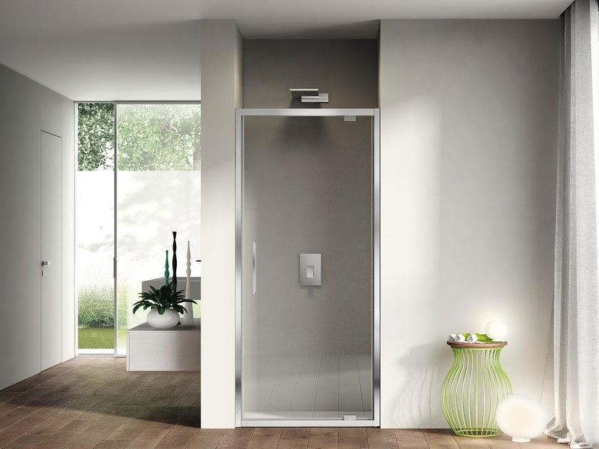 Niche shower cabin with pivot door LIKE 01 by DISENIA