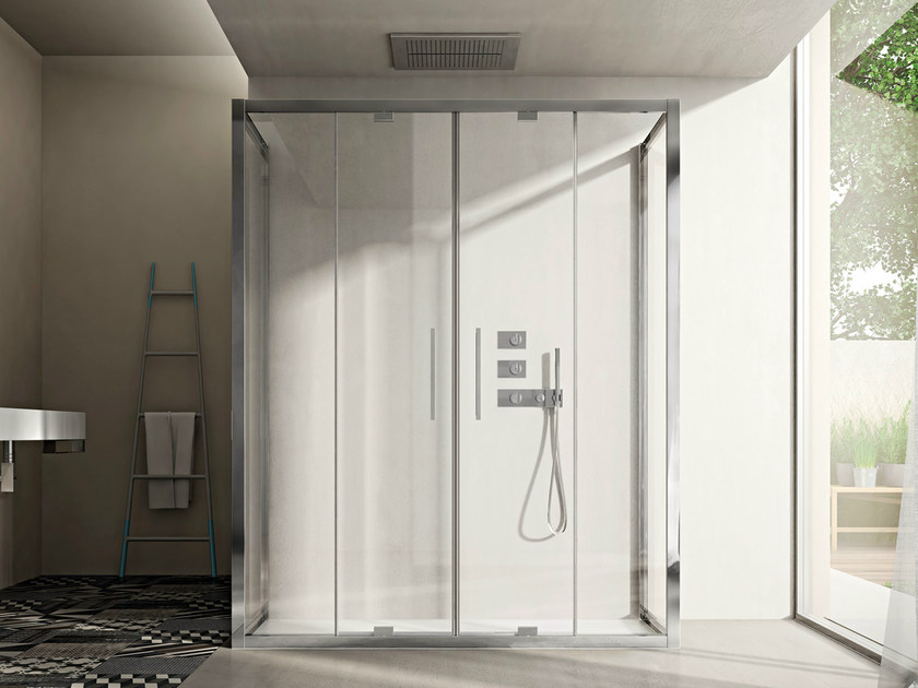 Shower cabin with pivot door LIKE 15 by DISENIA