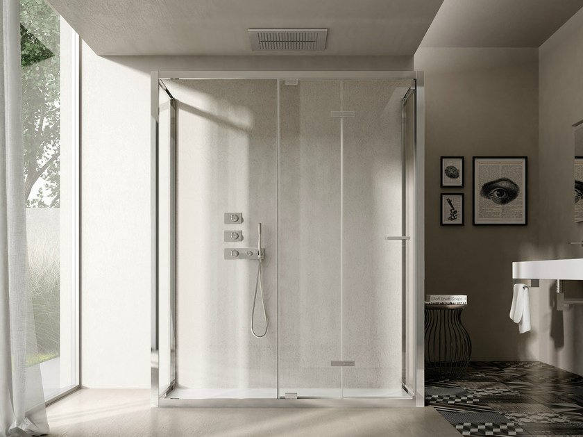 Shower cabin with folding door LIKE 16 by DISENIA