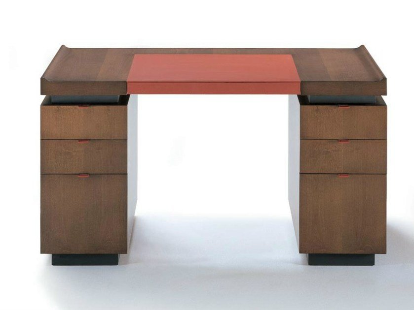 Rectangular wooden writing desk with drawers PRINCETON | Writing desk by HUGUES CHEVALIER