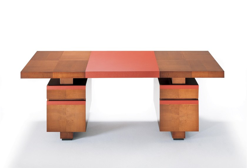 Contemporary Style Rectangular Wooden Writing Desk Taipan By Hugues Chevalier