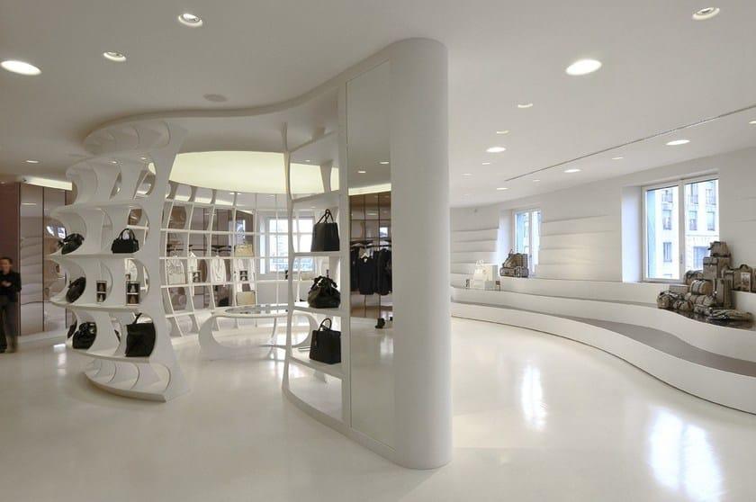 HI-MACS® - Allestimento di negozi Showroom Alviero Martini, Milan, Italy - Fabrication: Flusso, Facchinetti Group - Photo Credits: Valter Baldan