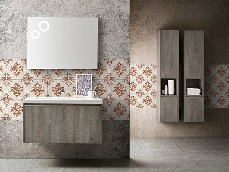 Contemporary style sectional wood-product console sink with doors with cabinets MOVIDA 17/19 by Cerasa